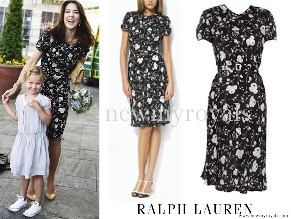 Crown Princess Mary wore Princess Mary Ralph Lauren Black and White Floral Dress