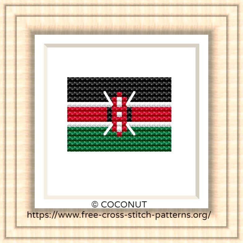 NATIONAL FLAG OF KENYA CROSS STITCH CHART