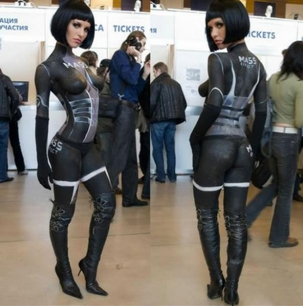 body painted mass effect girl