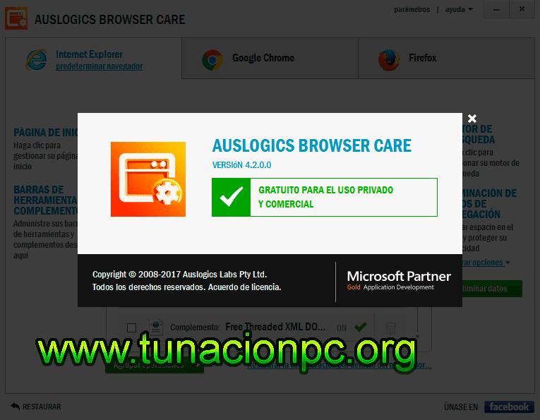 Auslogics Browser Care, Administrador de Navegadores Web Imagen