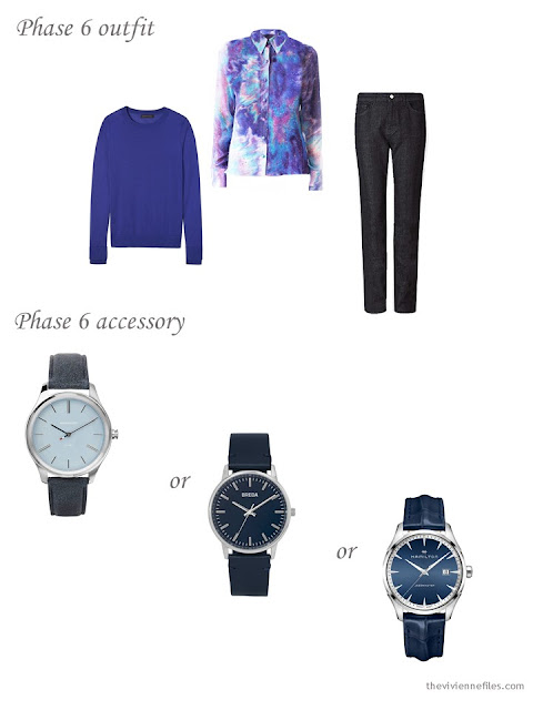 adding a watch to a 4 by 4 Wardrobe in Navy with floral accents
