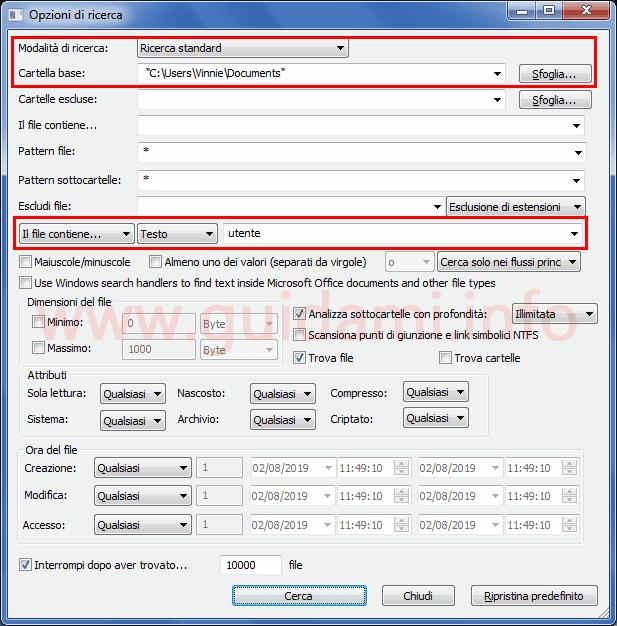 SearchMyFiles finestra delle opzioni di ricerca del programma
