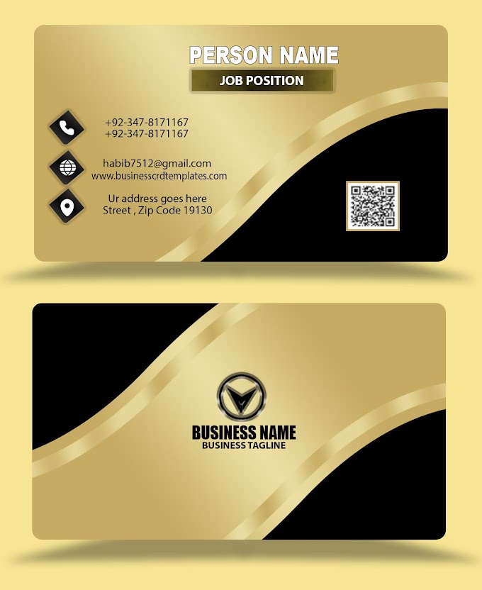 Golden silver effects business card design psd eps free download