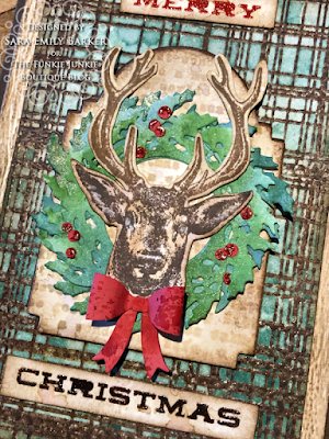 Sara Emily Barker https://sarascloset1.blogspot.com/2020/07/christmas-all-ready.html Rustic Christmas Card Tutorial #timholtz #yuletide #wreath&snowflake #lumberjack 2