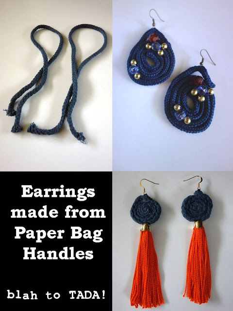 Earrings made from paper bag handles