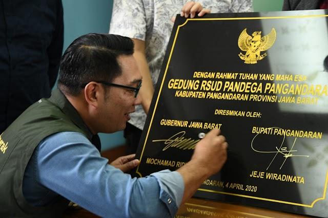 Gubernur Jabar Resmikan RSUD Pandega Pangandaran via Video Conference