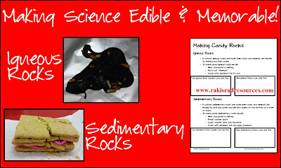 Free guide sheet to take you through making edible rocks with your students in order to help explain the rock cycle.