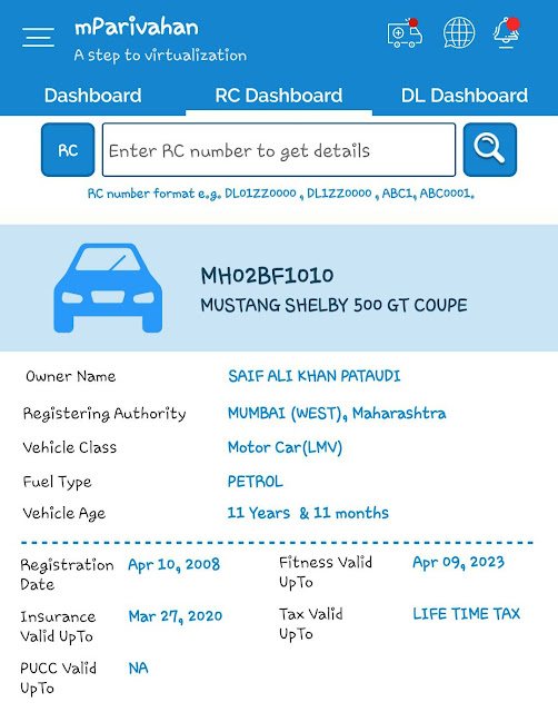 Find vehicle information using mParivahan app