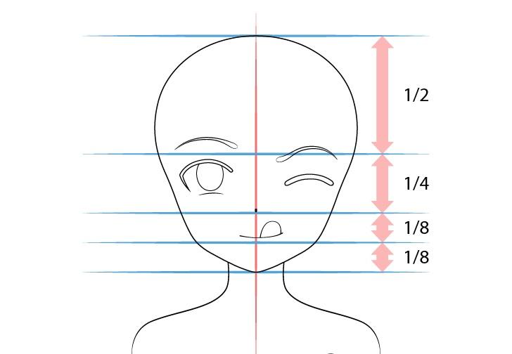 Gadis anime menjulurkan lidah menggambar proporsi