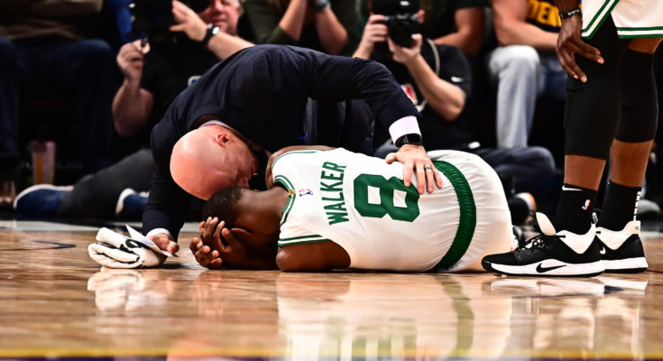 Celtics star Kemba Walker leaves court on stretcher with concussion-like symptoms