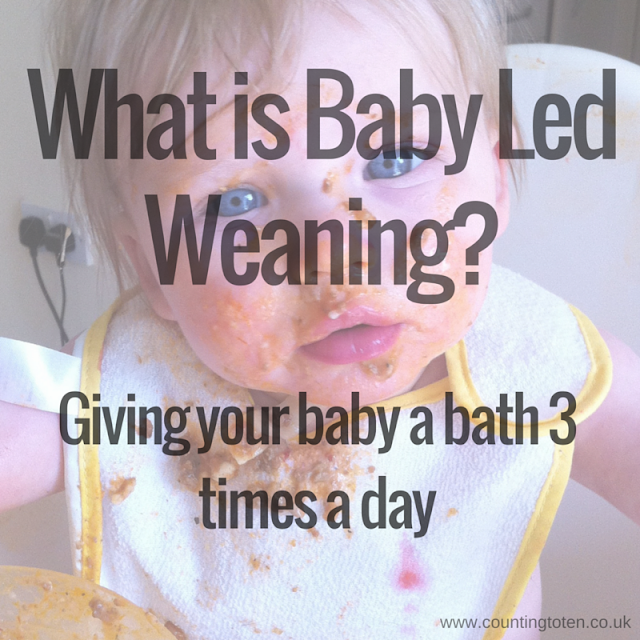 "A picture of a baby covered in bolognase sauce with the writing ""What is Baby Led Weaning? Giving your baby a bath 3 times a day"" written over the top"