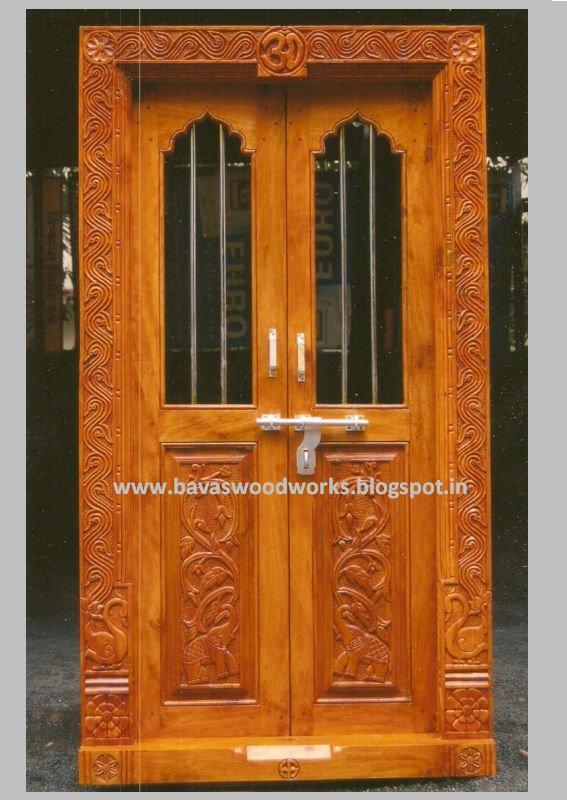 BAVAS WOOD WORKS: Pooja Room Door Frame and Door Designs