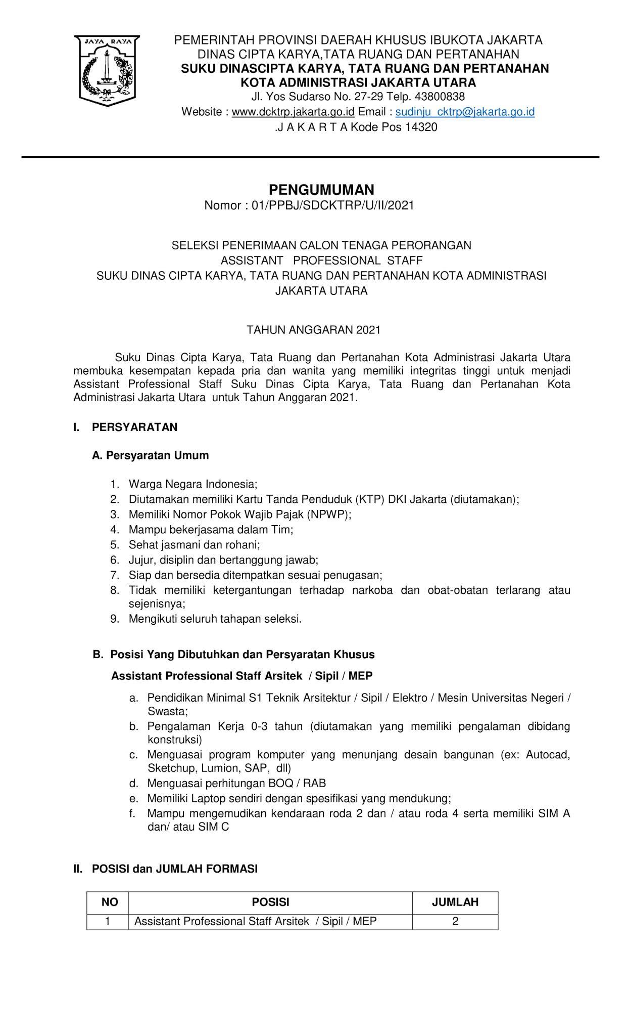 Lowongan Kerja Dinas Cipta Karya Tata Ruang dan Pertanahan Februari 2021