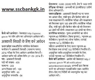 UP Abkari Vibhag, Recruitment 2016 News constable