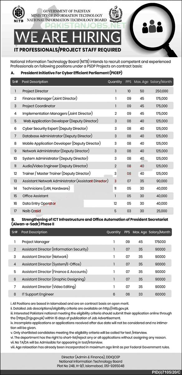 Ministry of Information Technology Jobs Latest 2021