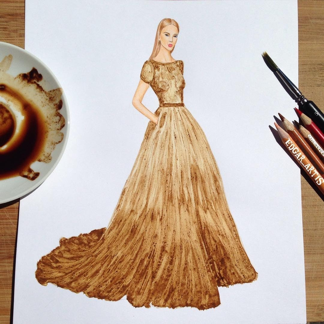 12-Dress-made-with-Coffee-Edgar-Artis-Multimedia-Drawings-and-Food-Art-Dresses-www-designstack-co