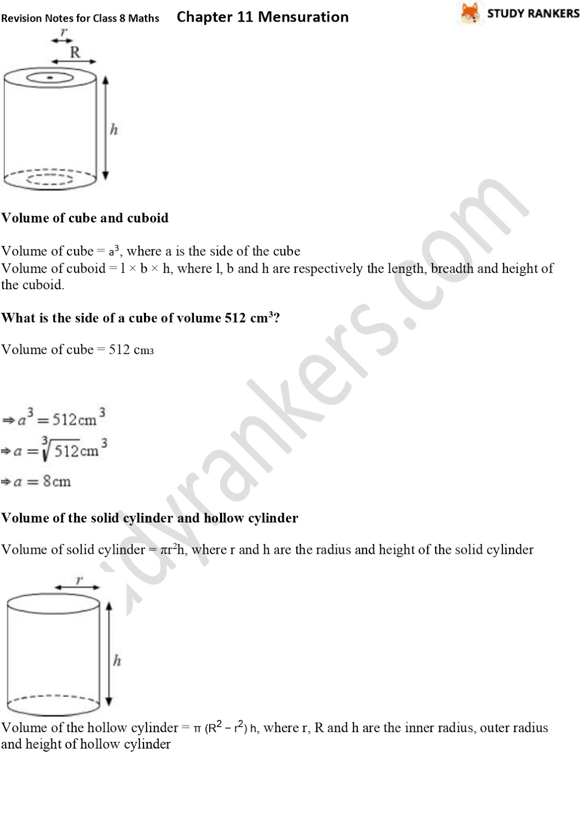 CBSE Revision Notes for Class 8 Chapter 11 Mensuration Part 5