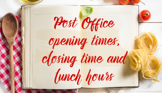 Post Office timings opening, closing and lunch hours