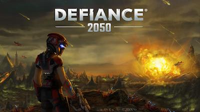 Defiance 2050 - Guerrero armado delante de una explosión
