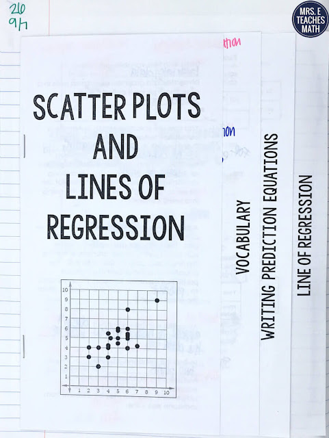 When an Algebra 2 student is learning statistics, scatter plots and linear regression are at the top of the list! This flipbook activity is a simple way for students to organize their notes. There is room for vocabulary, the prediction equation, and the line of regression.