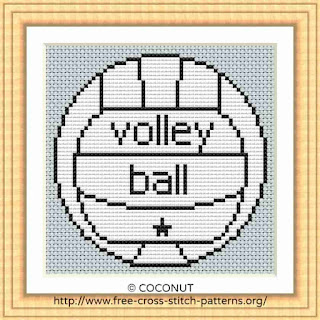 VOLLEYBALL, FREE AND EASY PRINTABLE CROSS STITCH PATTERN