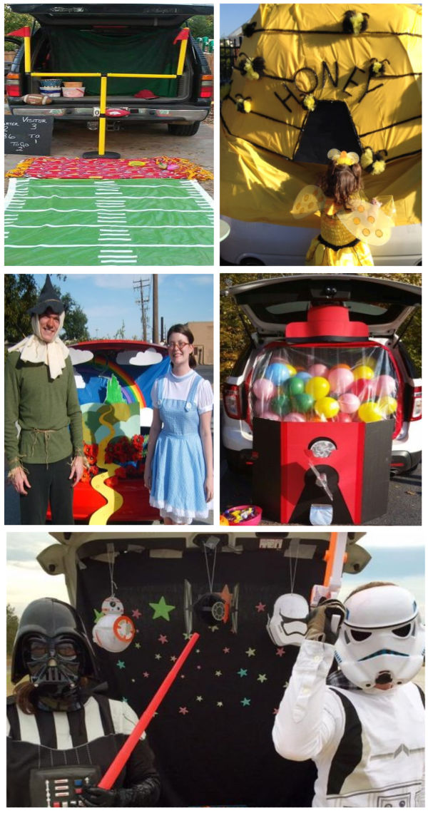 TONS of creative trunk themes for Halloween trick-or-treating #halloween #trunkortreatideasforcars #trunkortreat #halloweentrunks #growingajeweledrose #activitiesforkids