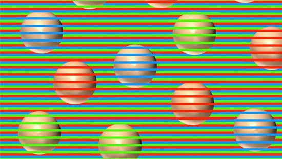 Ilusão de ótica esferas listras coloridas