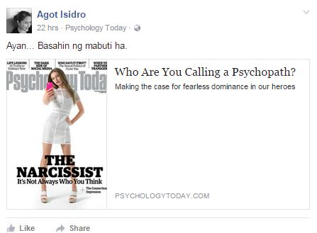 Agot Isidro: Not Going To Take Back Her 'Psychopath' Post.