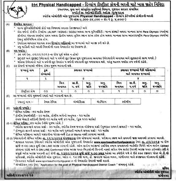 Sports Authority of Gujarat District Coach Recruitment 2017