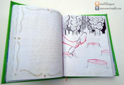 ilustración de un microcuento en un libro de artista