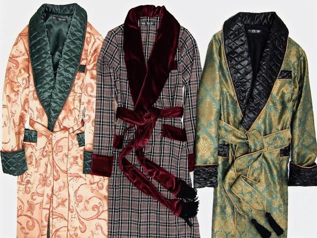 Luxus Hausmantel für Herren Morgenmantel Seide Samt Baumwolle