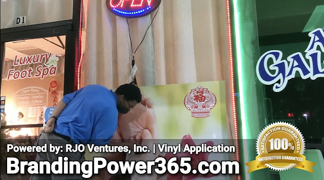 Storefront Window Graphics Installation, Vinyl Application for Luxury Foot Spa in West Palm Beach - BrandingPower365.com (RJO Ventures, Inc.)