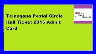 Telangana Postal Circle Hall Ticket 2016 Admit Card