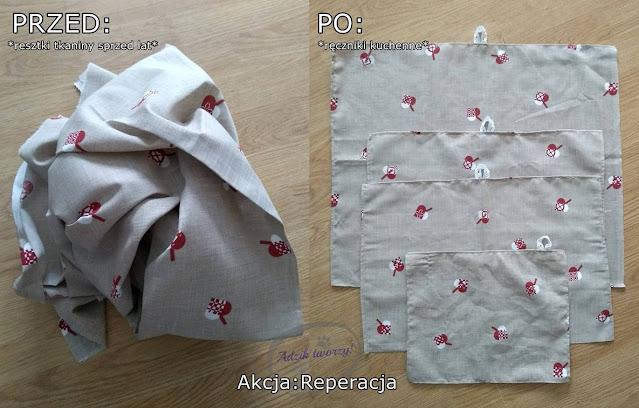 Wielorazowe ręczniki kuchenne z resztek tkanin - Akcja:Reperacja u Adzika