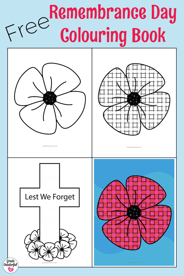 Remembrance Day Colouring Book. This little book includes a large poppy, a cross with poppies, a grid poppy, and an example of how to colour and display the grid poppy. Free! Perfect for Pre-K to Grade 2. #remembranceday #remembrancedaycolouring #poppy #poppies
