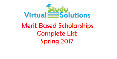 Merit Based Scholarships Spring 2017