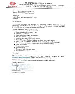 Loker PT Hanyoung Electronic Indonesia Tahun 2020 Cianjur