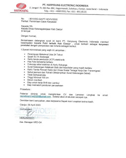 Loker PT Hanyoung Cianjur Terbaru 2021