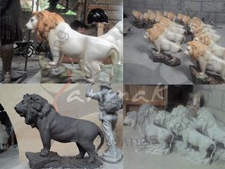 membuat patung singa fiber