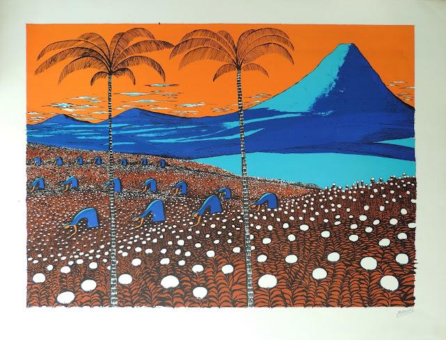 Manuel Carmona litografía paisaje puesta de sol campo de algodonera