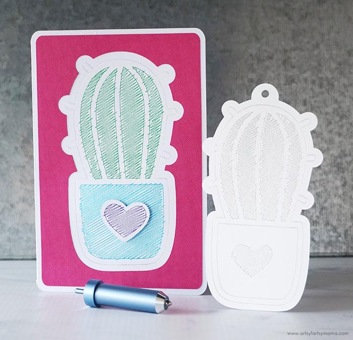 Cricut Foil Cactus Gift Tag and Card