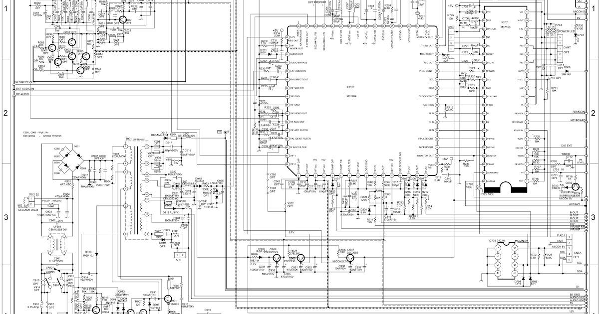 onida crt tv circuit diagram