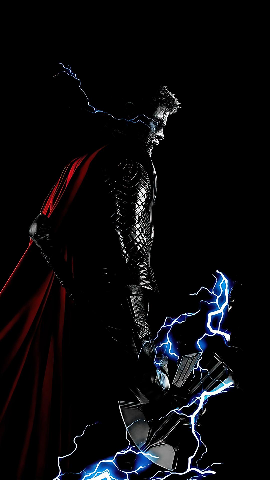 Thor Lightning Stormbreaker Axe wallpaper black amoled