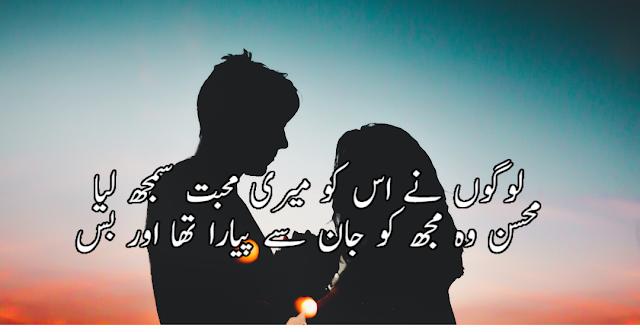 Logo ne us ko meri mohabbat smajh lia 2 lines poetry in urdu - love shayari by mohsin naqvi