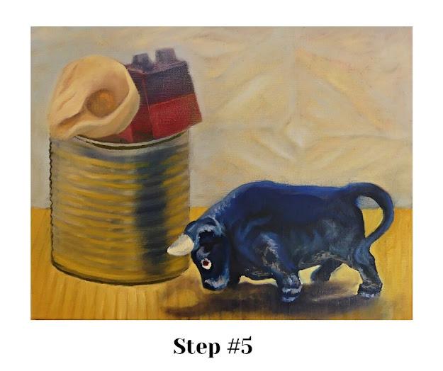 STEP #5: Adding reflective light values on bull's shiny surface.