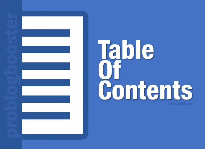 Table Of Contents Problogboster