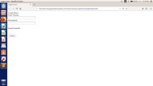 html reslt for creating login form