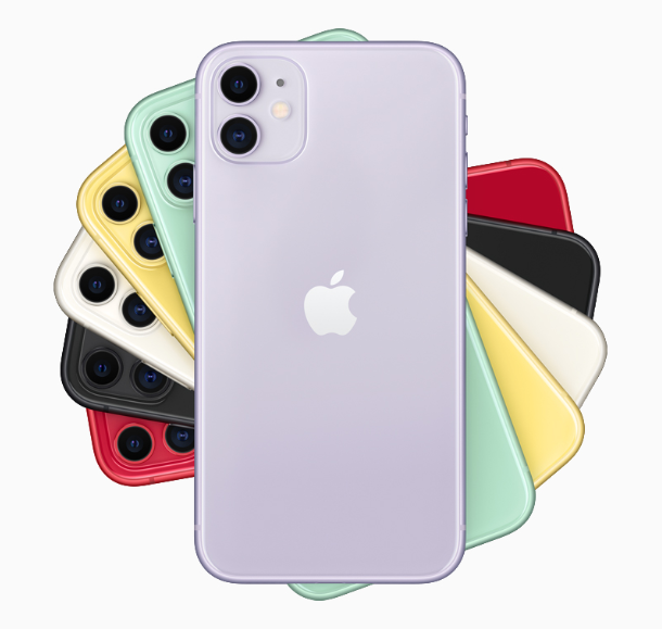 iPhone 11 comes in six new colors including purple, green, yellow, black, white and PRODUCT(RED).