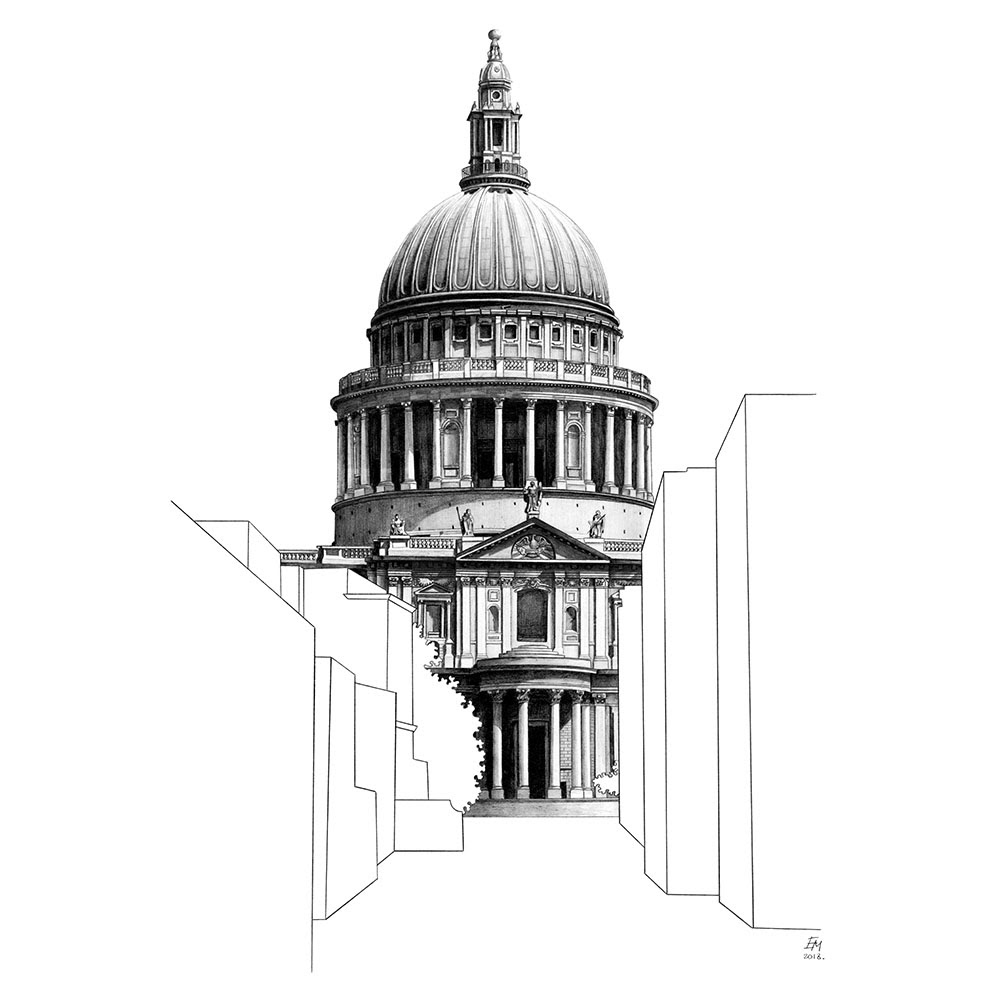 17-St-Paul-s-Cathedral-London-UK-Elizabeth-Mishanina-Architecture-Immaculate-Drawing-Technique-www-designstack-co
