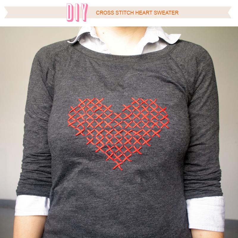 d4b8e4a869260f Über Chic for Cheap  DIY  Cross Stitch Heart Sweater